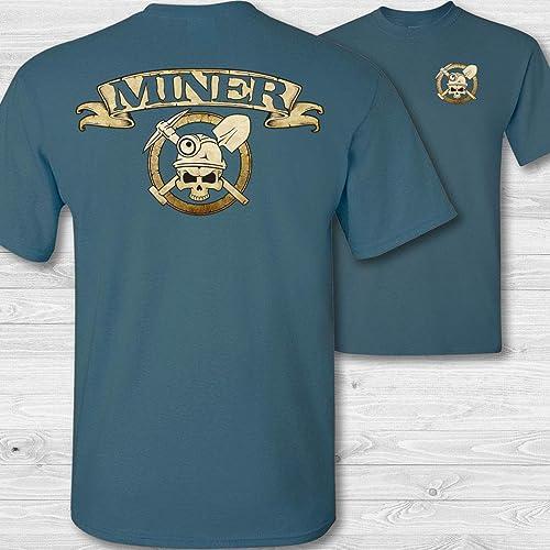 Amazon.com  Men s Miner Skull   Crossbones Badge Short Sleeve Tee Shirt   Handmade e4d28278b