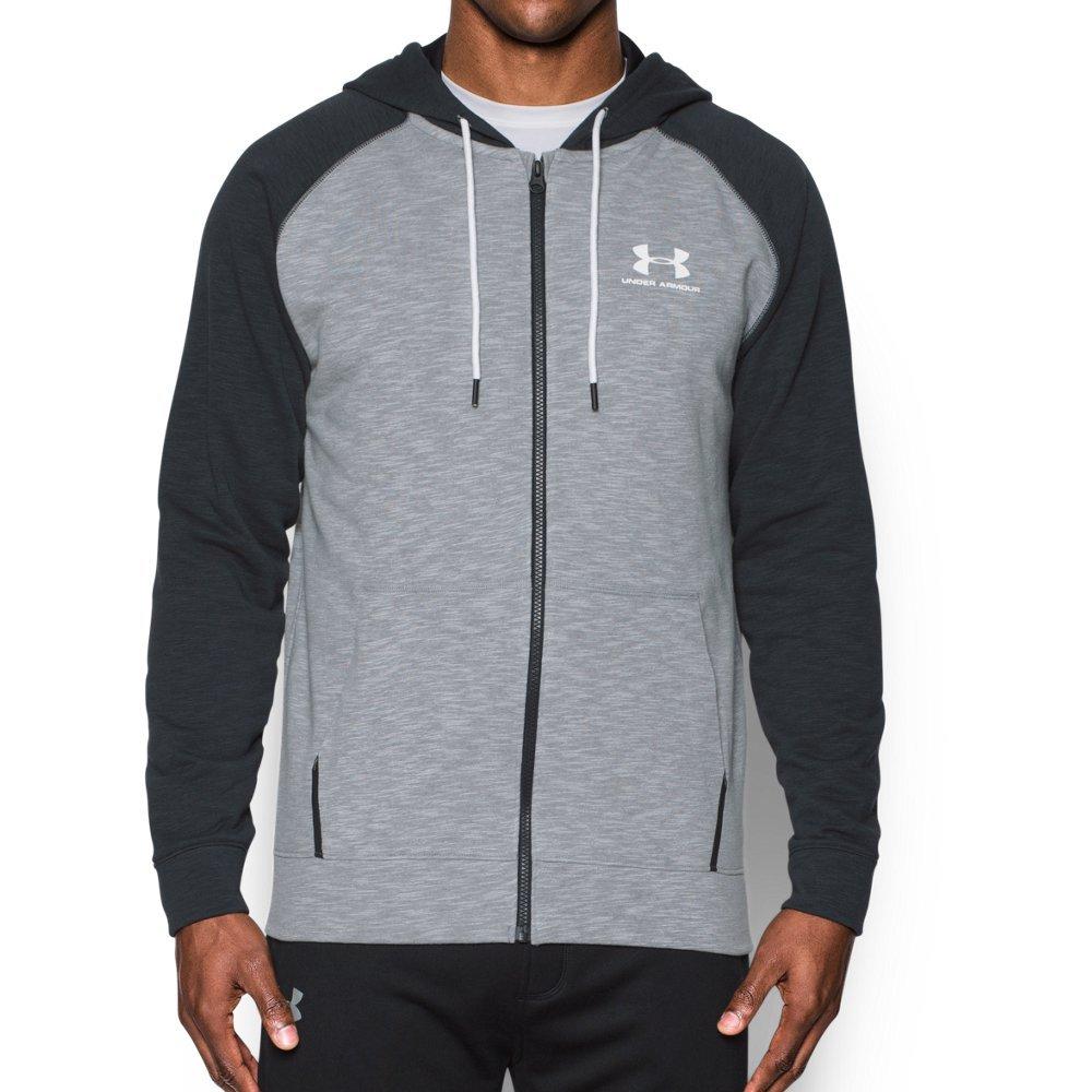 Under Armour Men's Sportstyle Fleece Full Zip Hoodie, Steel /White, Small