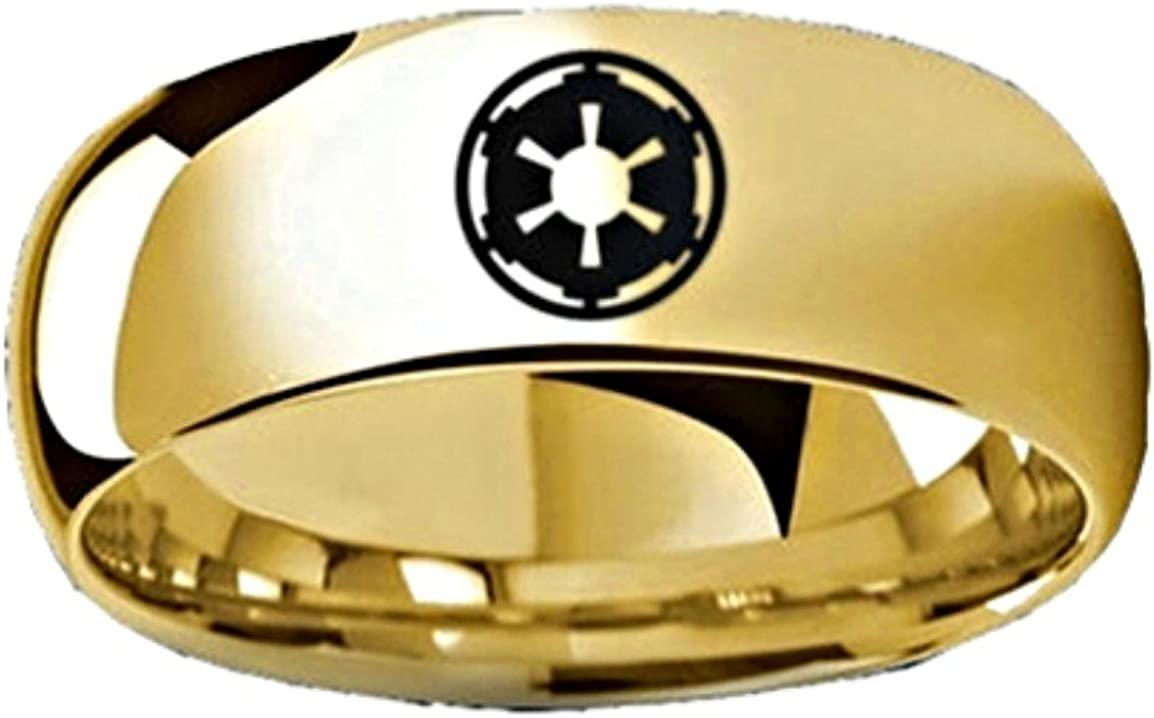 Thorsten Star Wars Sith Imperial Symbol Design Ring Polished Yellow Gold Plated Tungsten Domed Style Wedding Band 8mm Wide from Roy Rose Jewelry