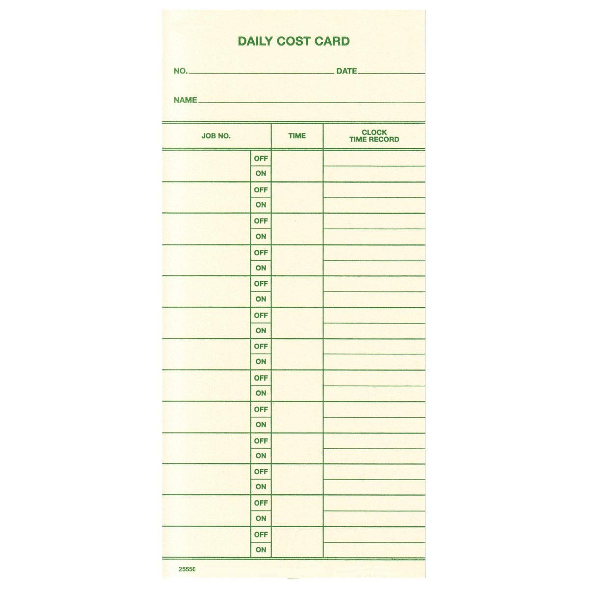 Box of 1000 Daily Job Cost Cards, 13 Off/On Records. Fits Acroprint, Amano, Lathem, Simplex & More by TCS