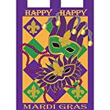 Happy Happy Mardi Gras Masks 42 x 29 Rectangular Double Applique Large House Flag