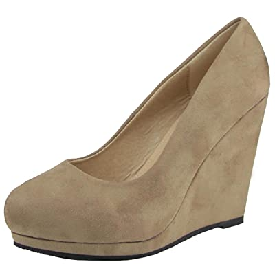 Anna Shoes Women's Slip On Classic Round Toe Platform Wedge Pump   Shoes