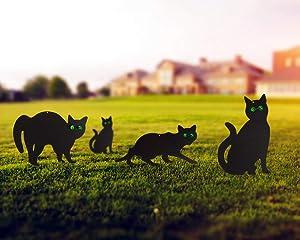 Garden Scare Cats with Reflective Eyes, Halloween Cat Yard Decor Outdoor Scarecrow - Cat Repellent Outdoor Yard and Garden Decoration - Cat Garden Stake Deterrent Outdoor (Set of 4)