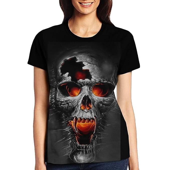 f1eb7706f Amazon.com: Fire Skull Women's Cute T Shirt Junior Tops Teen Girls Graphic  Tees: Clothing