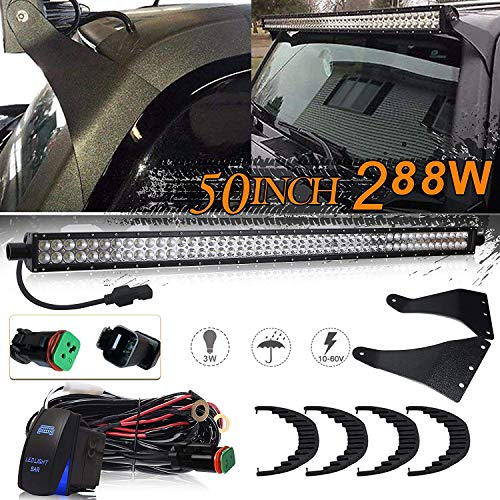 UNI FILTER 50 288W Straight Combo Beam Off-road LED Light Bar W/1Lead Waterproof DT Plug Wiring Harness Rocker Switch Upper Roof Windshield Mounting Brackets for 2006 2007 2008 2009 2010 Hummer H3