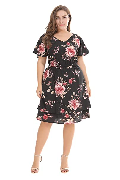 ROSE IN THE BOX Plus Size Women Cap Sleeve A-Line Printed ...