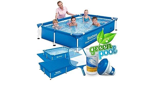 6 in1 Set Green Jardín Piscina 221 x 150 x 43 cm Frame Pool ...