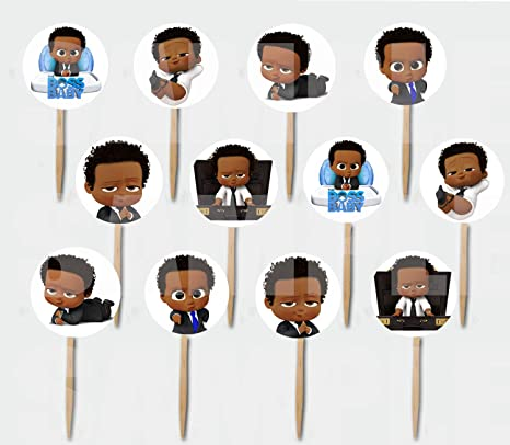 Black Boss Baby Cupcake Picks Double Sided Images Cake Topper 12 Pcs African American
