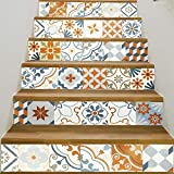 Tuscom 6 Pcs DIY European Creative 3D Stair Sticker|Removable Stair Sticker Home Decor Ceramic Tiles Patterns (6 Style 18x100cm) (D)