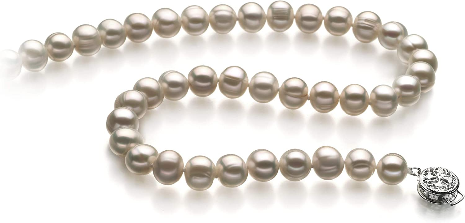 Bliss White 6-7mm A Quality Freshwater 925 Sterling Silver Cultured Pearl Necklace For Women