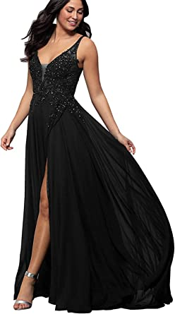 Womens A Line V Neck Lace Bodice Chiffon Prom Dresses Long Formal Evening Gown