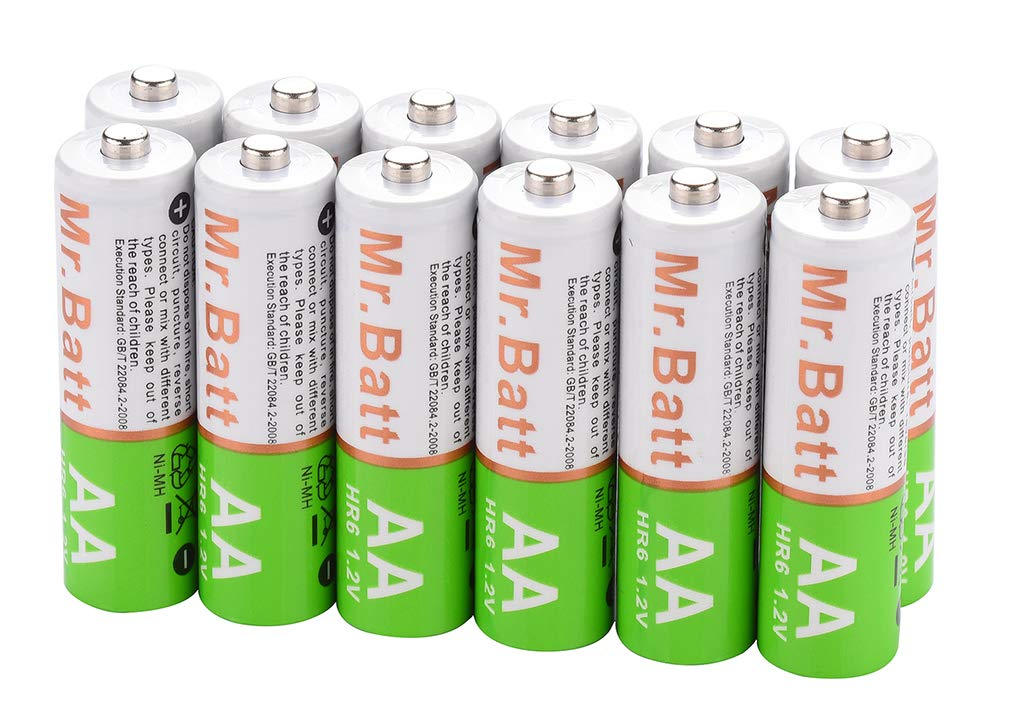 Mr.Batt NiMH Rechargeable AA Batteries Pre-Charged Low Self-Discharged (12 Pack), 1600mAh