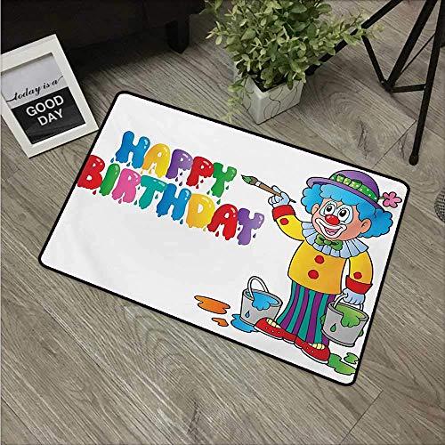 - Indoor Door Mat with Non Slip Backing,Kids Birthday Happy Clown for Party with Colorful Buckets Easy Clean Outdoor Doormats,Waterproof Low Profile Modern Aqua Runners Area Rug,24x16 in
