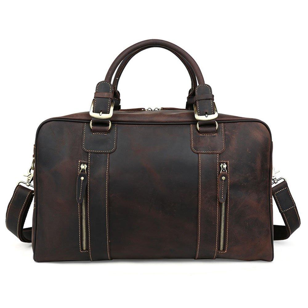 旅行バッグ スタイリッシュなシンプルさ大容量カジュアルレザートラベルバッグオイルワックスレザーショルダーハンドバッグトラベルバッグ スポーツバッグ トラベルバッグ (色 : 褐色) B07P6LJ9M2 褐色