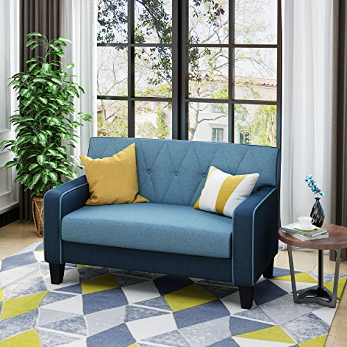 Christopher Knight Home 303954 Maisie Button Stitch Two Toned Navy Loveseat with Blue Fabric Cushions, Dark Brown