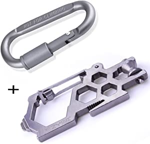 Carabiner Multitool Keychain, Survival Pulley Carbon Steel + 1 Aluminum D-ring Locking Cara Para Biner Set, Small Key Bracelet Jewelry Add On Multi Tool for Backpacking Clothing Outdoor Camping Hiking