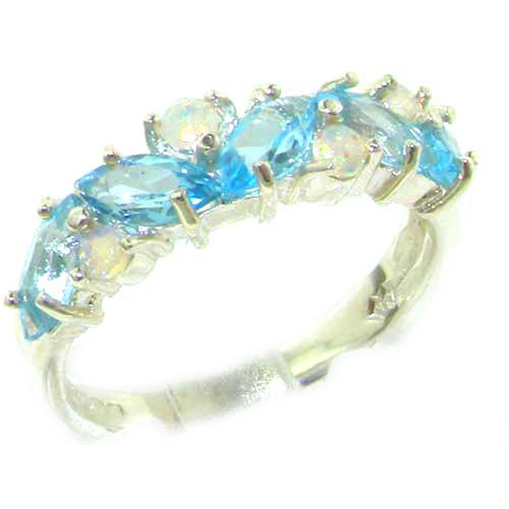 925 Sterling Silver Natural Blue Topaz & Opal Womens Eternity Ring - Sizes 4 to 12 Available