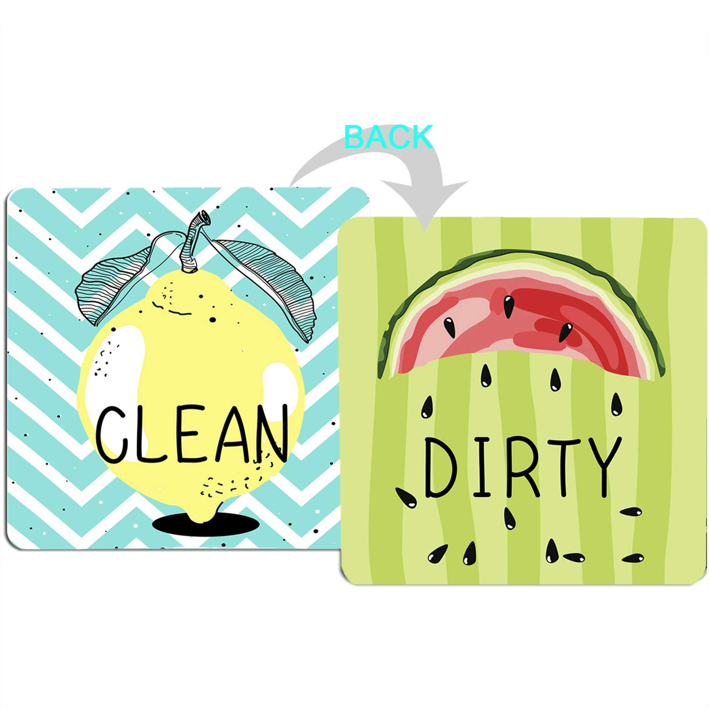 "4.7"" x4.7"" Double Sided Clean Dirty Dishwasher Magnet, Reversible Flexible Flip Sign, Waterproof UV Coating, Novel Fruit Pattern Design,Kitchen Addition Premium Flip Sign Indicator (Fruit)"