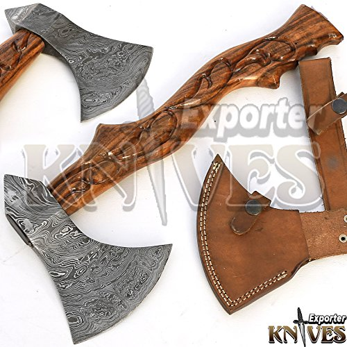 Knives Exporter Custom Hand Forged Damascus Steel Axe/Hatchet, Carving Work Wood Handle