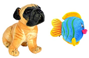 Deals india Brown Pug Dog and Multicolor Fish Combo (30 cm )