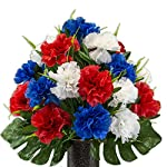 Rubys-Silk-Flowers-Red-White-and-Blue-Carnation-Mix-Artificial-Bouquet-Featuring-The-Stay-in-The-Vase-Designc-Flower-Holder-SM2186