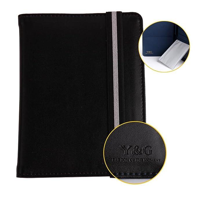 PW1012 Negro Azul Certificado Tienda Classic Formal Wear Cuero titular del pasaporte Regalos Viajes D¨