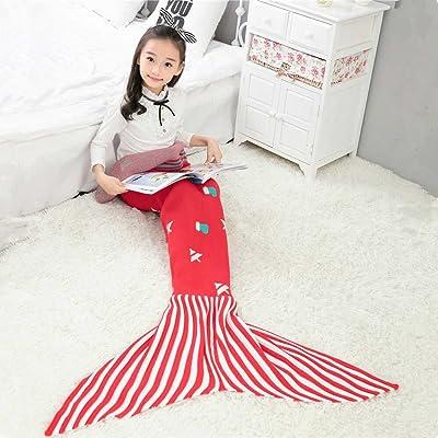 Sirène de Noël à rayures couverture queue de poisson d'hiver épais canapé Couverture sac de couchage chaud, bande rouge à la fin des poissons.