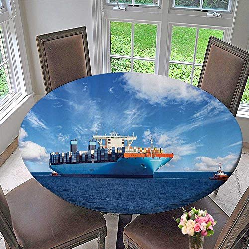 (Mikihome Round Tablecloth Assisting Cargo Ships to Harbor in Sunny Time Trading Merchandise 55