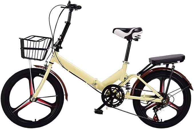 OFFA Bike Bicicleta Plegable For Adulto, Bicicletas 20 Pulgadas, De 6 Velocidades,del Crucero Mujer for Hombre Muchachos De Los Niños Muchachas del Estudiante con El Coche Bastidores Trasero Y Cesta: Amazon.es: Hogar