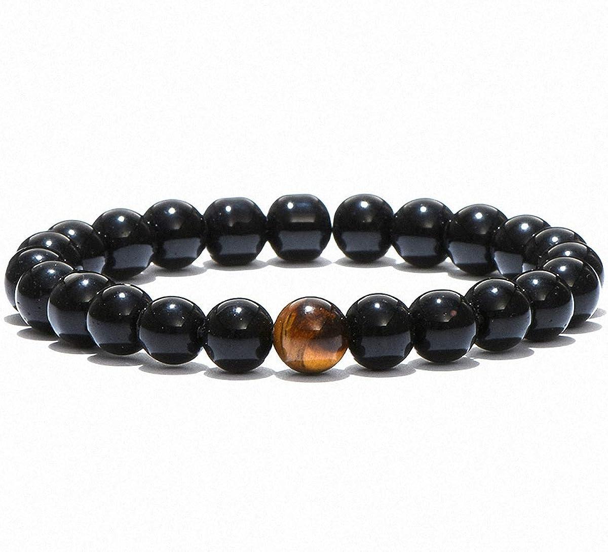 Yoga Meditation gift Men Tiger eyeLava stone Bracelet Hamsa Hand charm jewelry Tiger eye natural gemstone Crystal healing bracelet