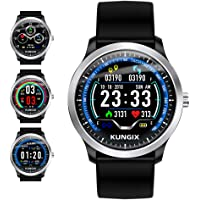 Smart Watch, KUNGIX Sport Fitness Tracker Watch with Heart Rate Monitor, IP67 Waterproof Color Screen Bluetooth Smartwatch Pedometer, Sleep Monitor, SMS Call Notification for iOS and Android Man Woman