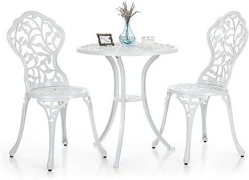 IKAYAA Ensemble Table de bistrot + 2 chaises d\'extérieur en ...