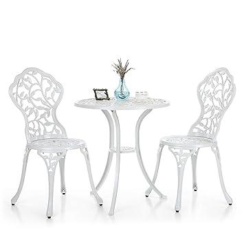 ikayaa 3pcs Garten Tisch und Stühle moderne im Freien Hof Veranda ...