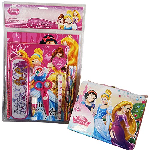 Disney Princess Back to School and Scrapbooking Bundle- 2 Items: Large Tin Lunch Box With 48 Piece Puzzle & 11 Piece Value Pack