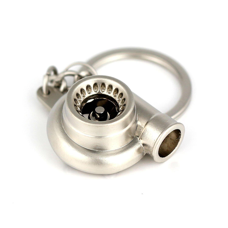 R TOOGOO Porte-cles Porte-cles en forme de Turbine Turbocompresseur Turbo avec le roulement Spinning dor modeles de pieces dauto Noir