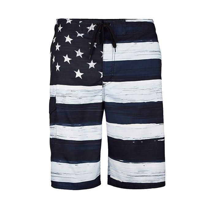 ec3660f8624c VBRANDED Men s American Flag Inspired Patriotic Board Shorts Black S