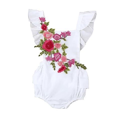 Feixiang Bebé recién Nacido bebé niña Mono Ropa Niño niña Ropa Estampado de Flores Volver Cruz