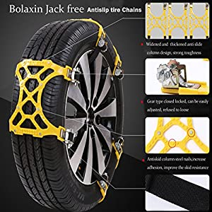 Double Fastener,Thickened TPR Antislip tire Chains for most Car,SUV and UTV - including 6 pcs Anti Slip tire Chain,1pcs snow shovel,A pair of gloves