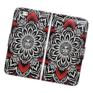 "Fabcov Packing Beautiful Tribal Flower Floral Wallet Leather Cover Case for 5.5"" iPhone 6 Plus"