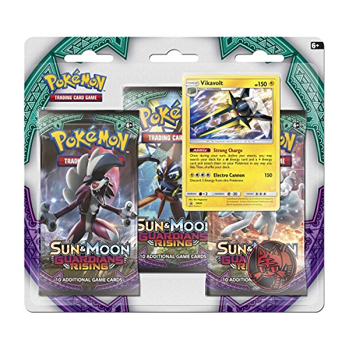 Pokemon Sun & Moon Guardians Rising Boosters, 3 Booster Pack with Vikavolt Promo Card