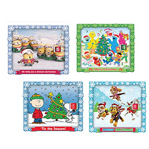Kurt Adler 4 Assorted Christmas Advent Calendars in Despicable Me ''we Wish You A Minion Christmas,'' Sesame Street ''merry Christmas,'' Peanuts ''tis The Season'' And Paw Patrol ''merry Christmas''
