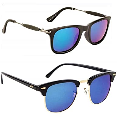 a3ac36c7bf8d3 Flynn Blue Clubmaster Wayfarer pack of 2 Stylish Sunglasses  Amazon.in   Clothing   Accessories