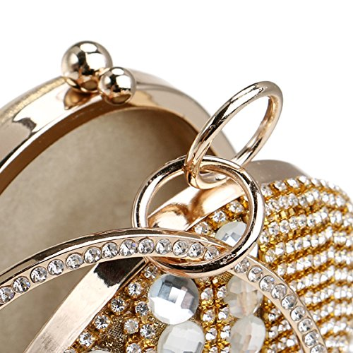 Flada mujeres y diamantes de imitación de la niña abalorios de noche bolsa de embrague oval pulsera bolso monedero plata Oro