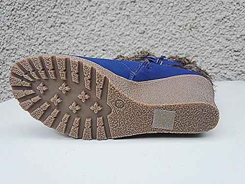 Bottine compensée femme fourrure botte Fourré fur Cheville Court Bleu SM58-1