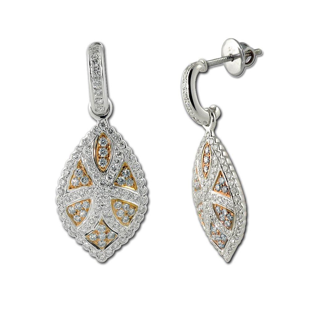 95044505601 Amazon.com: TriJewels Diamond Dangling Half Hoop Earring (VS1-VS2 ...
