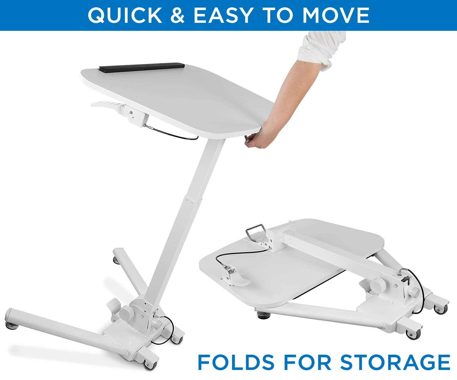 Mount-It! Standing Folding Laptop Cart, Sit Stand Mobile Desk with Height Adjustable 31.1'' x 20.5'' Platform, Supports up to 17.6 lbs, White (MI-7949) by Mount-It! (Image #4)