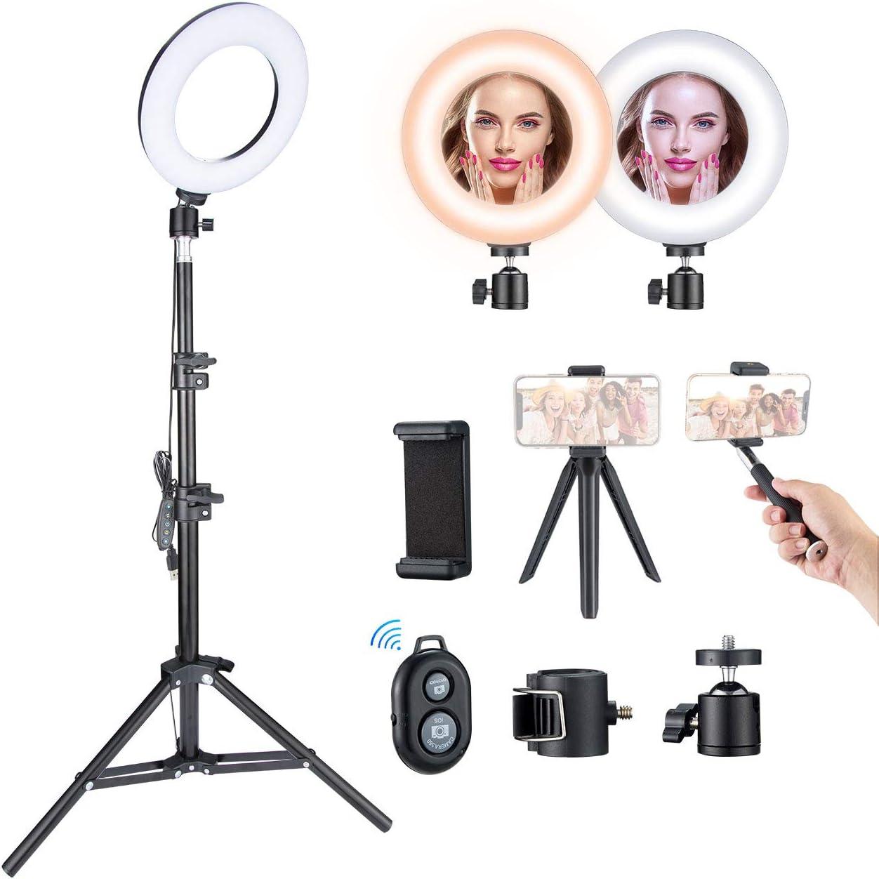 5 Farbtemperatur y 5 Helligkeitsmodi YouTube Selfie Foto MakeupVideo Vlog Verstellbares Stativ 43-110cm Selfie Ringleuchte Ringleuchte Mit Stativ VicTsing Max 1200 Lumen
