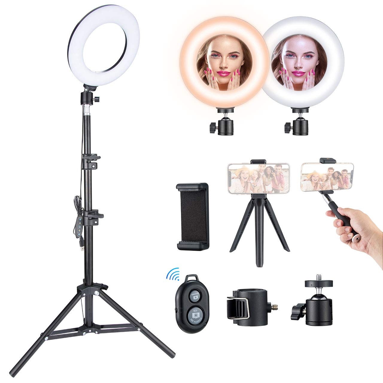 VicTsing Ring Light Kit 6.3'' with 5 Light Modes & 5 Brightness, 3000K-6500K Dimmable LED Ring Light with Desktop Tripod/Adjustable Tripod Stand/Selfie Stick for Makeup Camera Shooting YouTube Video by VicTsing