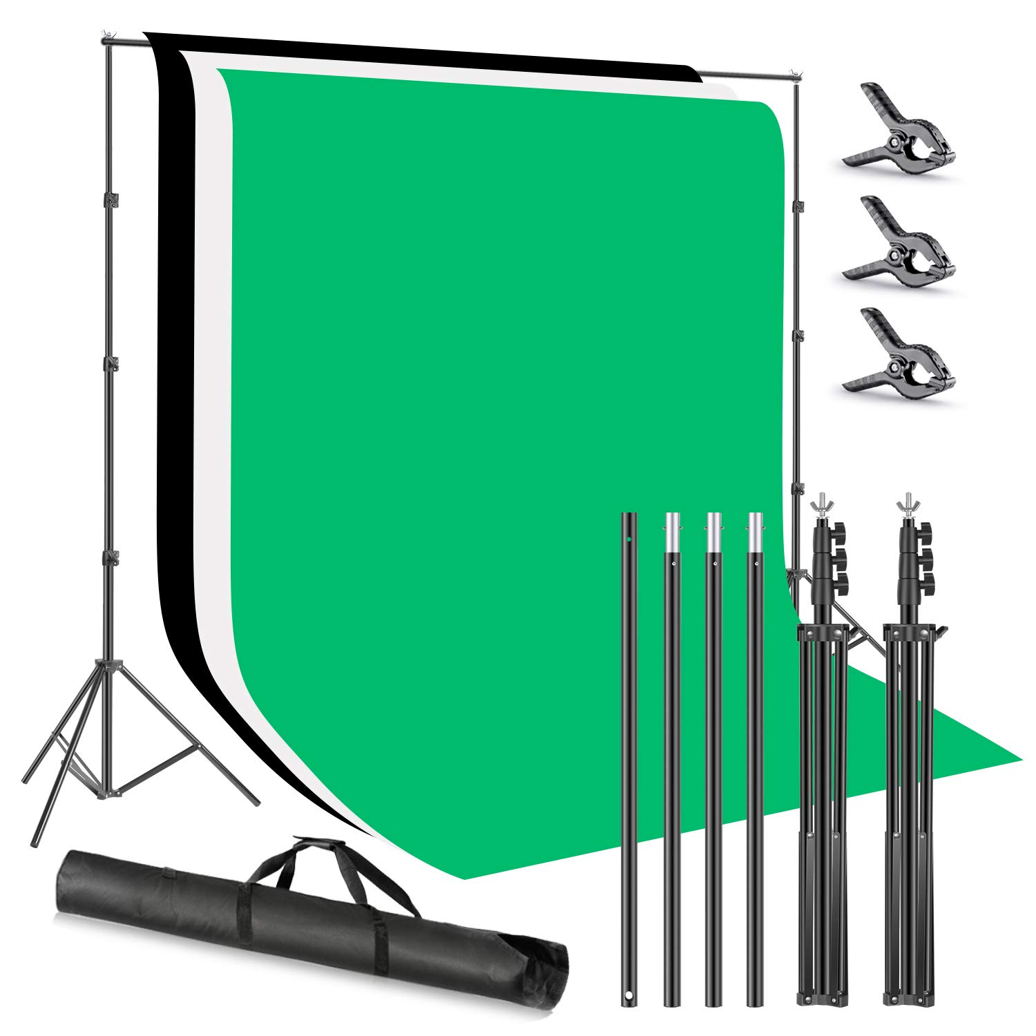 Neewer Photo Studio 8.5x9.8feet Backdrop Stand Backdrop Support System with 6x9feet Polyester Backdrop (White/Black/Green) Clamps and Carry Bag for Photography (Perfect for Freshman/Beginners) by Neewer