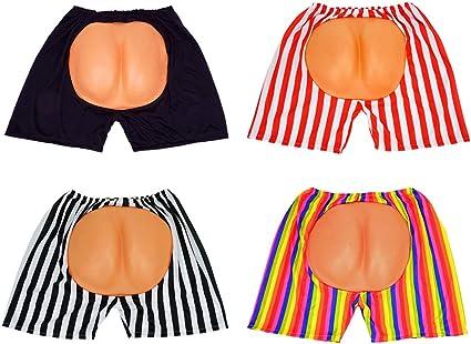 SeasonsTrading Fake Foam Butt Black White Striped Boxer Shorts Costume Gag Gift